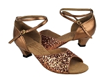 S9220 Dark Tan Sparkle & Dark Tan Gold & Cuban Heel