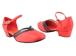 8881 211New Red Leather_140 Black Leather Trim_Red Insole
