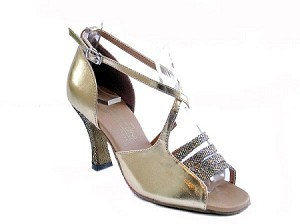 "1651 Gold Scale & Gold Leather with 3"" Heel in the photo"