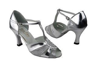 "2702 Silver Stardust & Silver Leather with 3"" Heel in the photo"