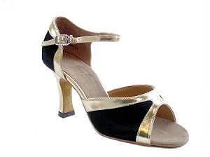 6024 black satin  gold leather