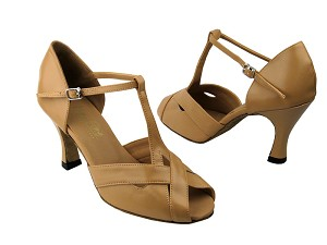 "2703 Beige Brown Leather with 3"" Heel in the photo"