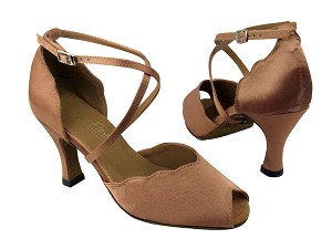 "2708 Brown Satin with 3"" heel in the photo"