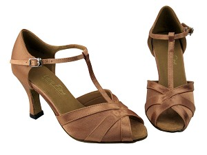 "2711 Brown Satin with 3"" heel in the photo"