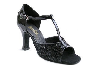 "5004 Black Sparkle with 3"" Heel in the photo"