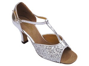"5004 Silver Sparkle with 3"" Heel in the photo"