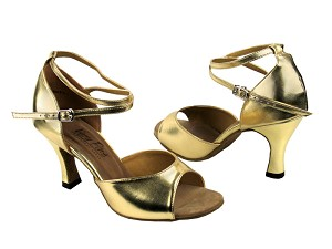 "6012 Gold Leather with 3"" Heel in the photo"