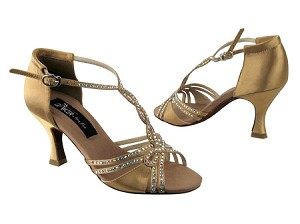 "CD2801 Tan Satin with 3"" Flare heel in the photo"
