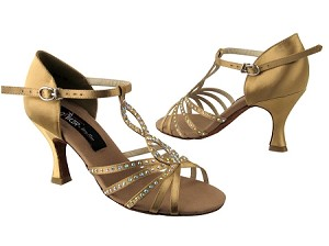 "CD2806 Tan Satin with 3"" Flare heel in the photo"