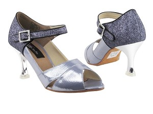 "CD3010 Steel Blue & Grey Stardust with 3"" Silver Plated Flare Heel in the photo"