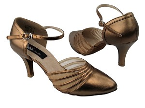 "CD6033 Copper Nude Leather with 2.75"" Slim heel in the photo"