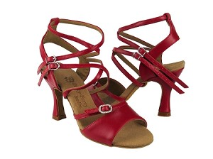 "PP202 Red Leather with 3"" Flare heel in the photo"