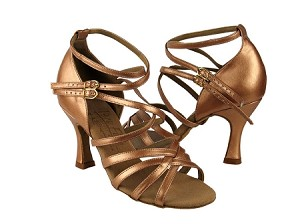 "S9206 Copper Nude Leather with 3"" Flare heel in the photo"