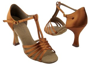 "S92319 Dark Tan Satin with 3"" Flare heel in the photo"