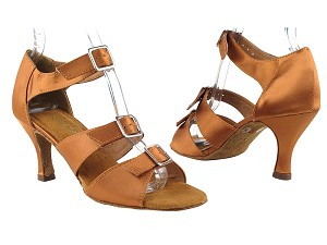 "1679 236 Dark Tan Satin with 3"" Heel in the photo"