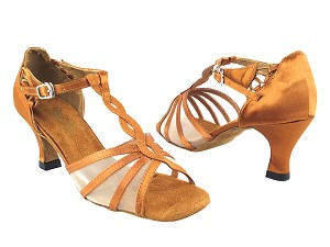 "1692 236 Dark Tan Satin_1671Factory Style BackStrap with 2.5"" Heel in the photo"