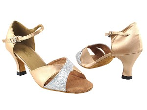 "6030 6 Silver Sparklenet_135 Light Brown Satin with 2.5"" Heel in the photo"
