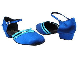 "8881 247 Gem Blue Satin_230 Light Blue Satin Trim with 1"" Women Heel in the photo"
