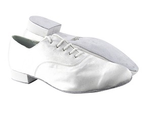"919101 White Satin_White Sole with 1"" Standard heel in the photo"