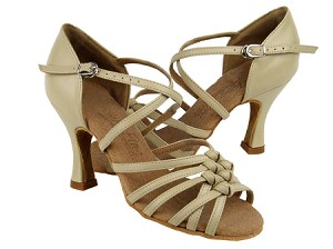 "C1650 Beige Leather with 3"" Flare heel in the photo"