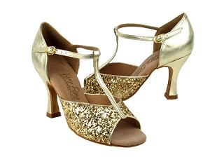 "C5004 Gold Sparkle with 3"" Flare heel in the photo"
