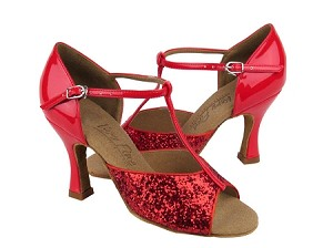 "C5004 Red Sparkle with 3"" Flare heel in the photo"