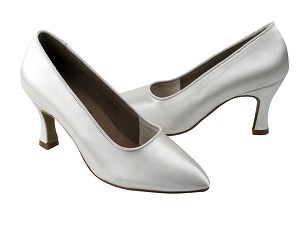 "C6901 White Satin with 2.75"" heel in the photo"