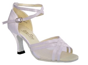 "5017 White Satin & White Mesh with 3"" Heel in the photo"
