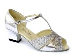 6006 Silver Leather & Silver Sparklenet & Thick Cuban Heel