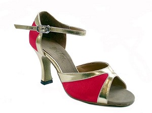 "6024 Red Satin & Gold Trim with 3"" Heel in the photo"