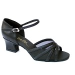 6027 Black Leather & Black Mesh & Thick Cuban Heel