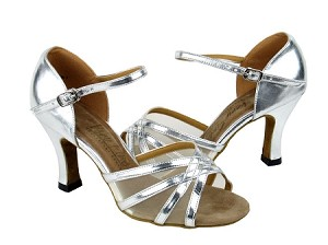 "6027 Silver Leather & Flesh Mesh with 3"" Heel in the photo"