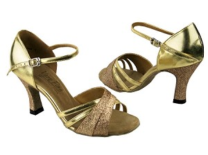 "6030 Gold Stardust & Gold Leather with 3"" Heel in the photo"