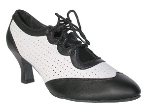 "6823 Black Leather & White Leather with 2.5"" low heel in the photo"