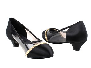 CD5502 Black Satin Cuban Heel