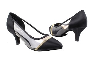 "CD5502 Black Satin  with 2.5"" Slim heel in the photo"