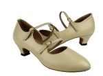 PP201 Beige Leather & Cuban Heel