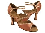 PP207 Tan Satin & Copper Nude Trim