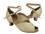 S2801 Beige Leather & Cuban Heel