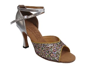 "S9220 Rainbow Sparkle & Silver Leather with 3"" Flare heel in the photo"