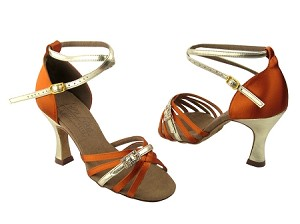 "S92327 Orange Tan Satin & Gold Trim with 3"" Flare heel in the photo"