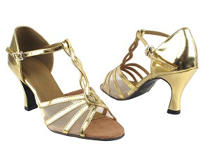 "1692 62 Gold Leather_Flesh Mesh with 3"" Heel in the photo"