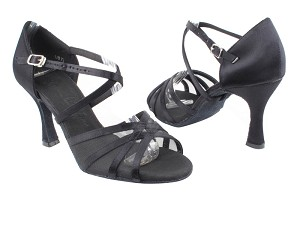 "SERA1605 Black Satin & Black Mesh with 3"" heel in the photo"